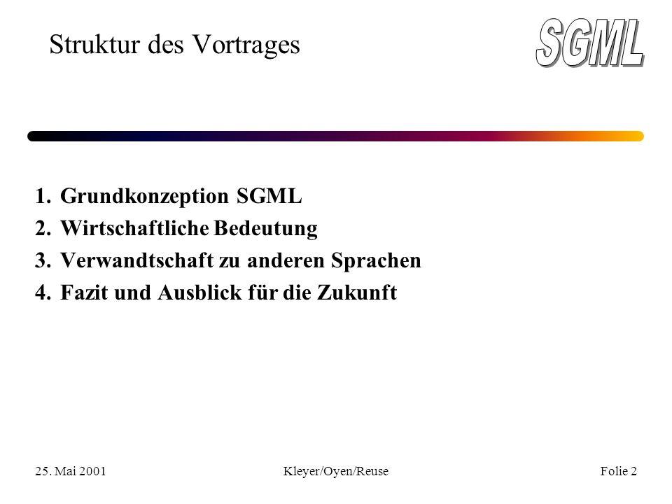 25. Mai 2001Kleyer/Oyen/ReuseFolie 2 Struktur des Vortrages 1.Grundkonzeption SGML 2.Wirtschaftliche Bedeutung 3. Verwandtschaft zu anderen Sprachen 4