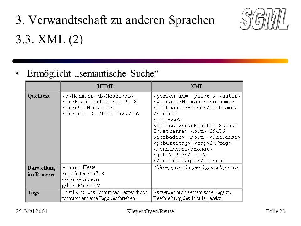 25. Mai 2001Kleyer/Oyen/ReuseFolie 20 3. Verwandtschaft zu anderen Sprachen 3.3.