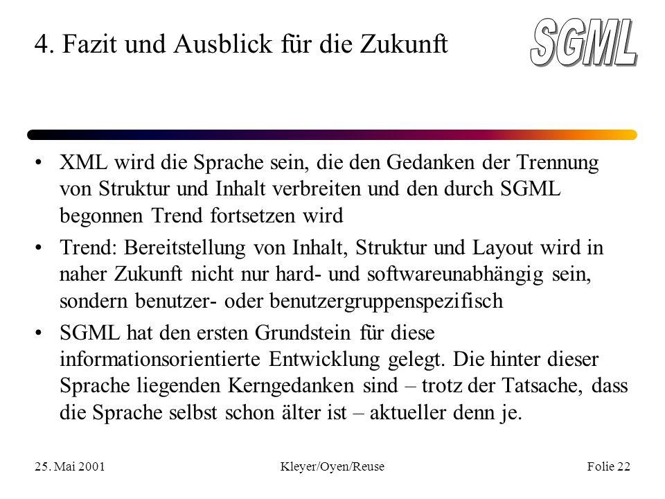25. Mai 2001Kleyer/Oyen/ReuseFolie 22 4.