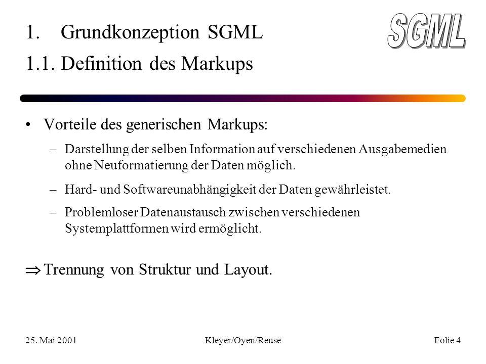 25. Mai 2001Kleyer/Oyen/ReuseFolie 4 1. Grundkonzeption SGML 1.1.