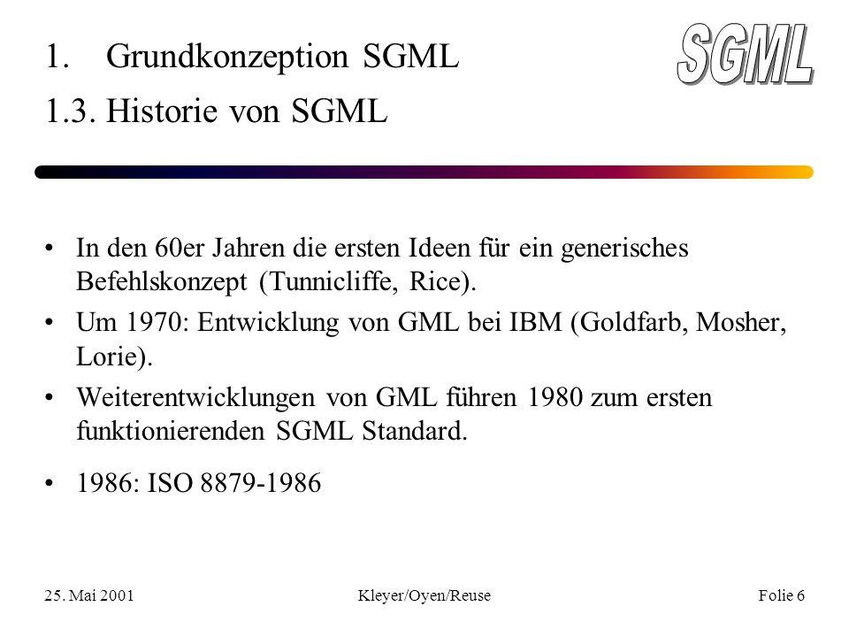 25. Mai 2001Kleyer/Oyen/ReuseFolie 6 1. Grundkonzeption SGML 1.3.