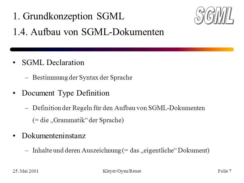 25. Mai 2001Kleyer/Oyen/ReuseFolie 7 1. Grundkonzeption SGML 1.4.