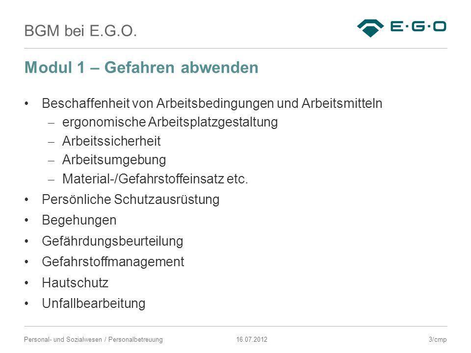 BGM bei E.G.O. 16.07.2012Personal- und Sozialwesen / Personalbetreuung Modul 1 – Gefahren abwenden Beschaffenheit von Arbeitsbedingungen und Arbeitsmi