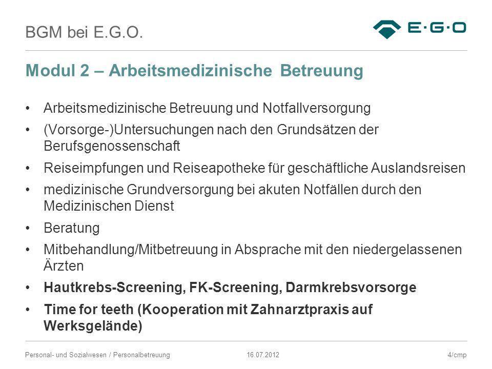 BGM bei E.G.O. 16.07.2012Personal- und Sozialwesen / Personalbetreuung Modul 2 – Arbeitsmedizinische Betreuung Arbeitsmedizinische Betreuung und Notfa