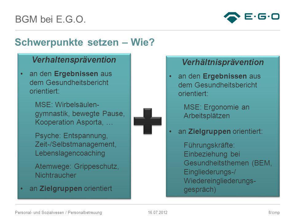 BGM bei E.G.O. Schwerpunkte setzen – Wie? Verhaltensprävention an den Ergebnissen aus dem Gesundheitsbericht orientiert: MSE: Wirbelsäulen- gymnastik,