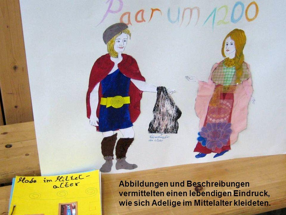 Abbildungen und Beschreibungen vermittelten einen lebendigen Eindruck, wie sich Adelige im Mittelalter kleideten.