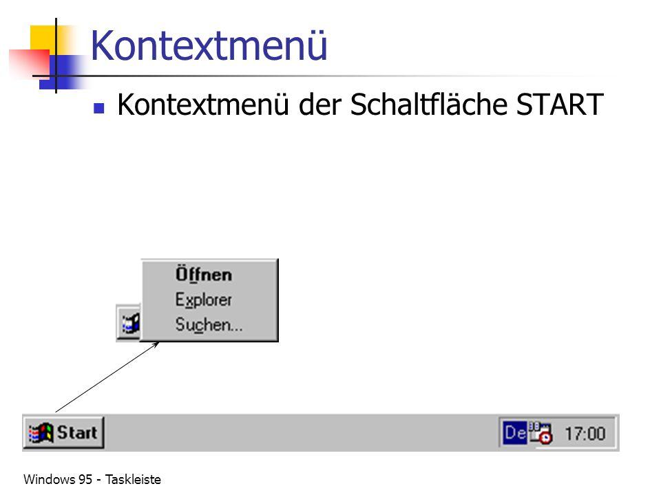 Windows 95 - Taskleiste Kontextmenü Kontextmenü der Schaltfläche START