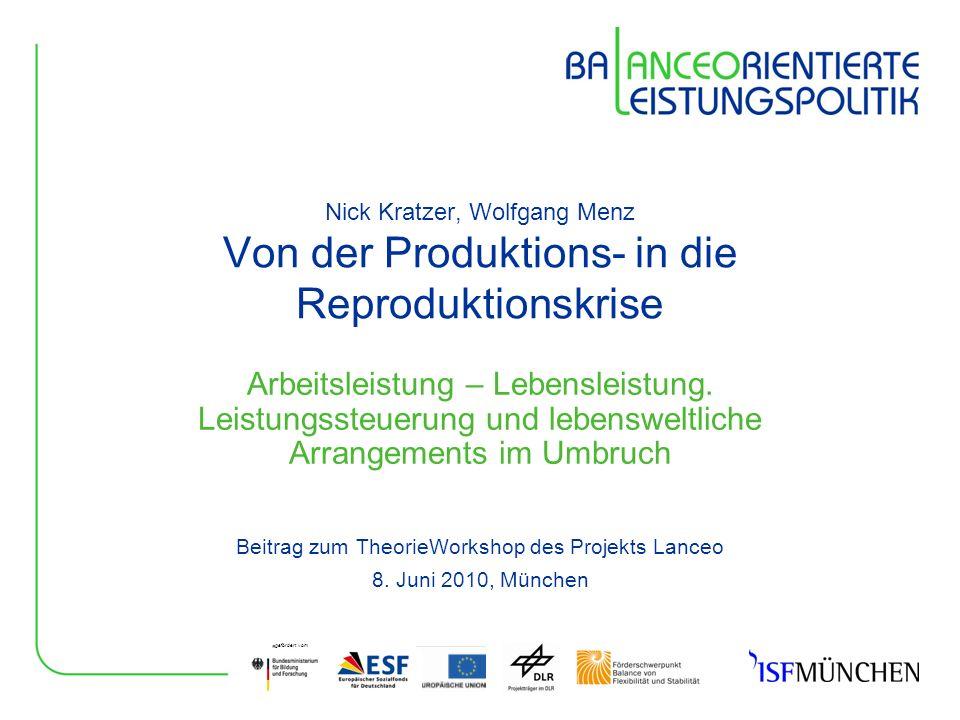 gefördert vom Nick Kratzer, Wolfgang Menz Von der Produktions- in die Reproduktionskrise Arbeitsleistung – Lebensleistung. Leistungssteuerung und lebe