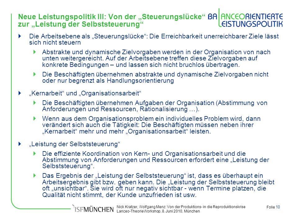 Nick Kratzer, Wolfgang Menz: Von der Produktions- in die Reproduktionskrise Lanceo-TheorieWorkshop, 8. Juni 2010, München Folie 10 Neue Leistungspolit