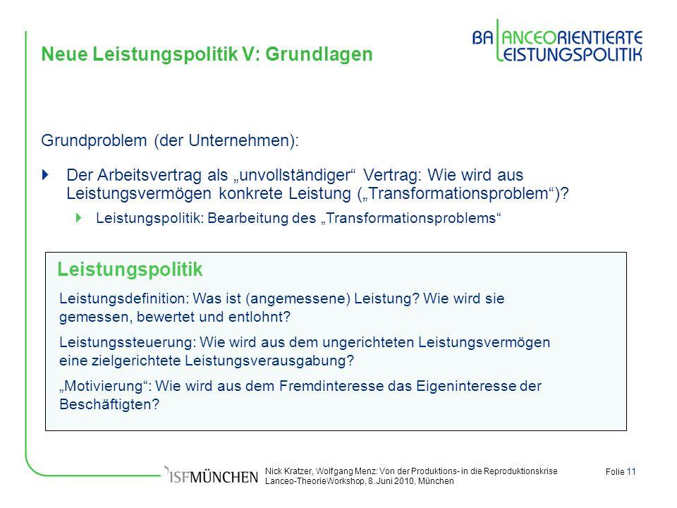 Nick Kratzer, Wolfgang Menz: Von der Produktions- in die Reproduktionskrise Lanceo-TheorieWorkshop, 8. Juni 2010, München Folie 11 Neue Leistungspolit