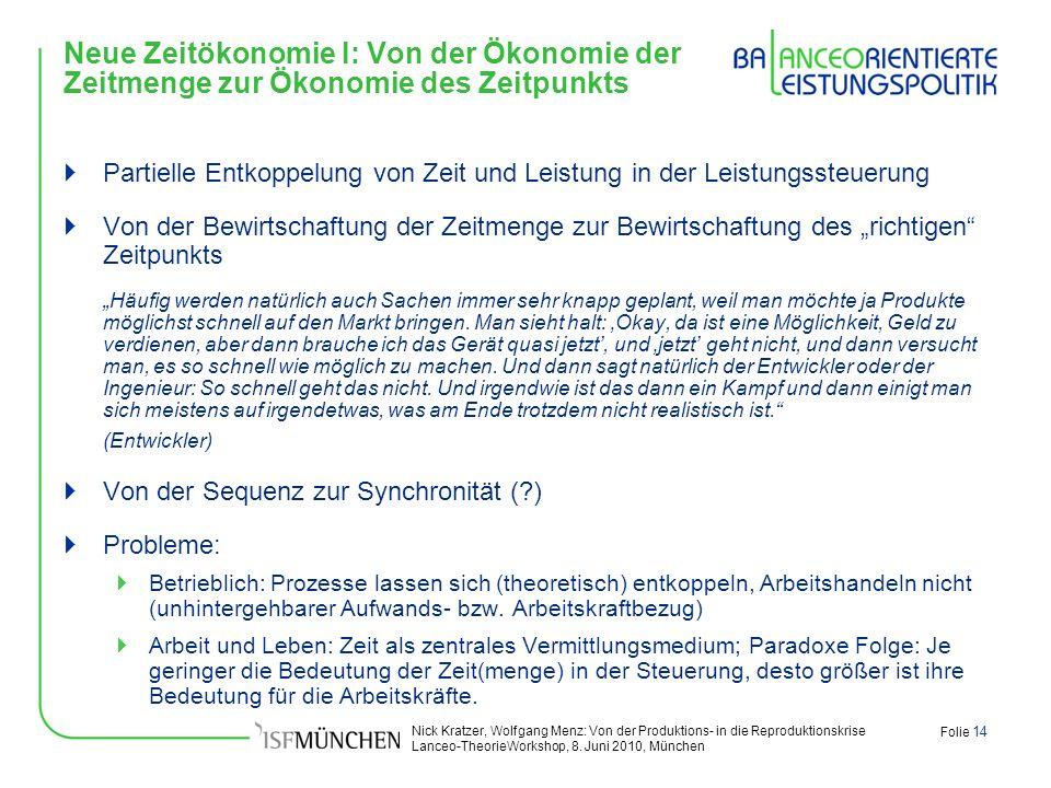 Nick Kratzer, Wolfgang Menz: Von der Produktions- in die Reproduktionskrise Lanceo-TheorieWorkshop, 8. Juni 2010, München Folie 14 Neue Zeitökonomie I