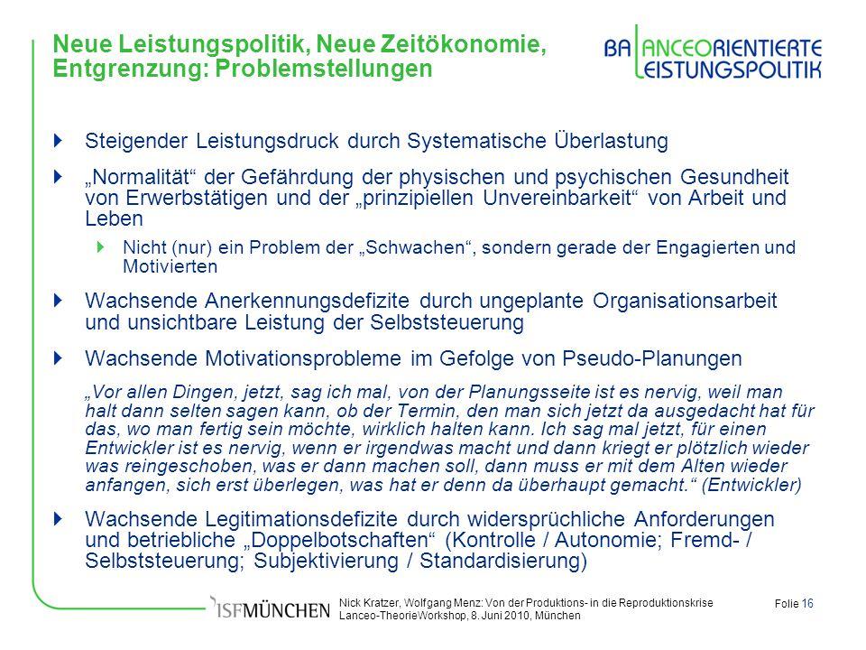 Nick Kratzer, Wolfgang Menz: Von der Produktions- in die Reproduktionskrise Lanceo-TheorieWorkshop, 8. Juni 2010, München Folie 16 Neue Leistungspolit