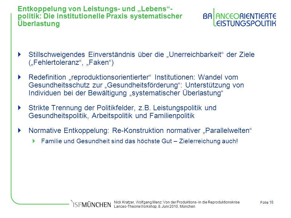 Nick Kratzer, Wolfgang Menz: Von der Produktions- in die Reproduktionskrise Lanceo-TheorieWorkshop, 8. Juni 2010, München Folie 18 Entkoppelung von Le