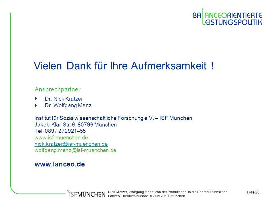 Nick Kratzer, Wolfgang Menz: Von der Produktions- in die Reproduktionskrise Lanceo-TheorieWorkshop, 8. Juni 2010, München Folie 20 Ansprechpartner Dr.