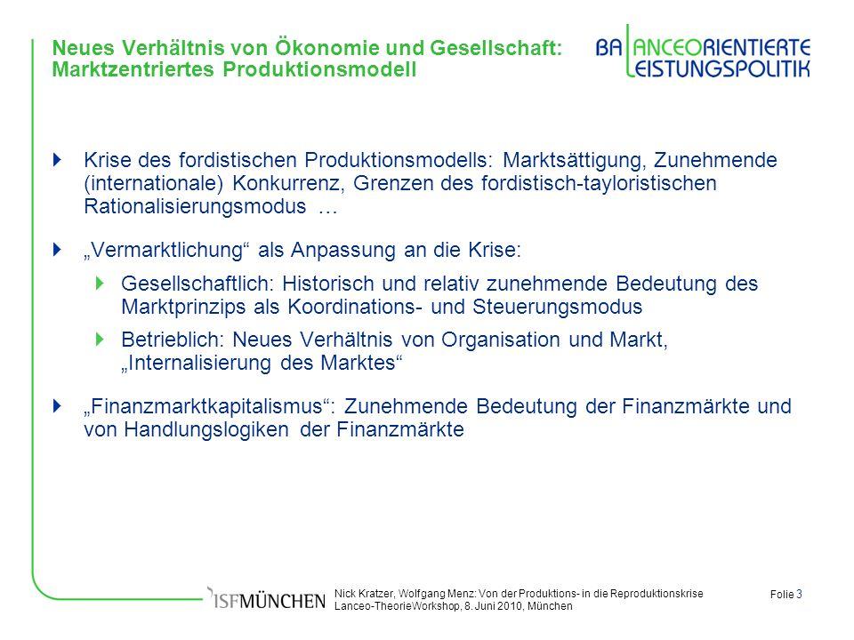 Nick Kratzer, Wolfgang Menz: Von der Produktions- in die Reproduktionskrise Lanceo-TheorieWorkshop, 8. Juni 2010, München Folie 3 Neues Verhältnis von