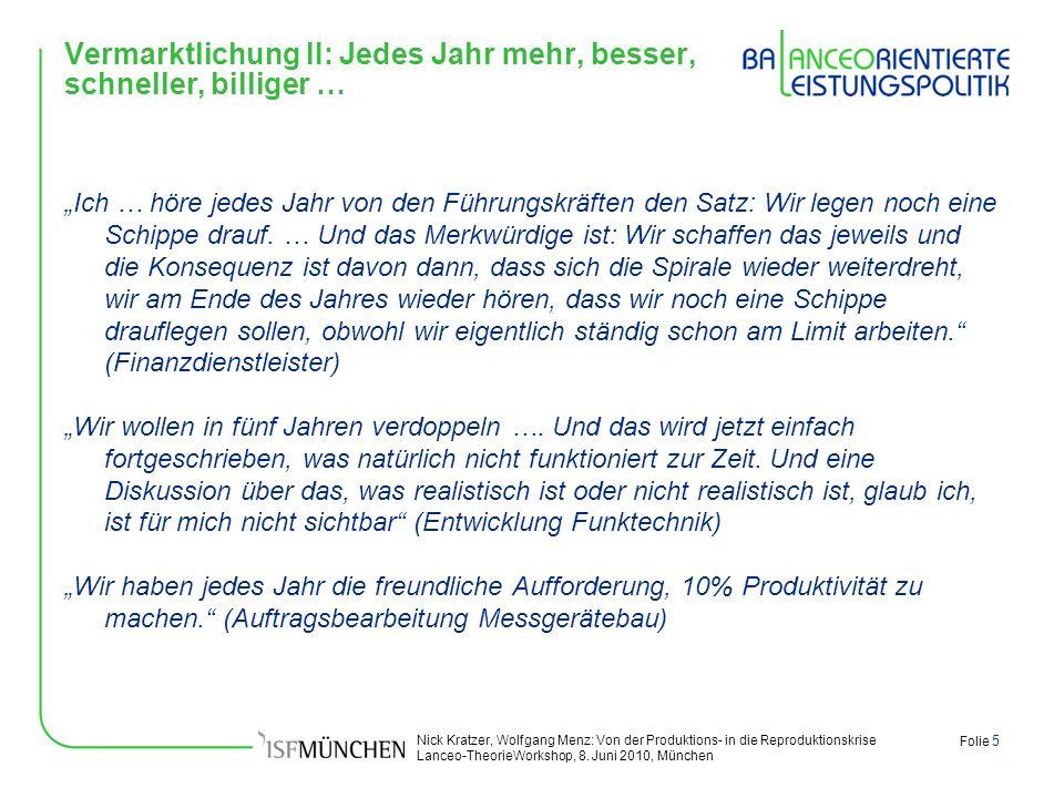 Nick Kratzer, Wolfgang Menz: Von der Produktions- in die Reproduktionskrise Lanceo-TheorieWorkshop, 8. Juni 2010, München Folie 5 Vermarktlichung II: