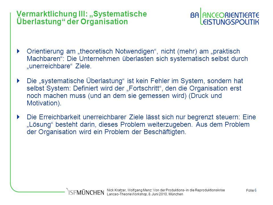 Nick Kratzer, Wolfgang Menz: Von der Produktions- in die Reproduktionskrise Lanceo-TheorieWorkshop, 8. Juni 2010, München Folie 6 Vermarktlichung III: