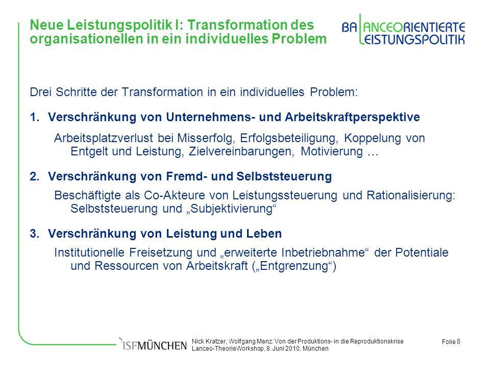 Nick Kratzer, Wolfgang Menz: Von der Produktions- in die Reproduktionskrise Lanceo-TheorieWorkshop, 8. Juni 2010, München Folie 8 Neue Leistungspoliti