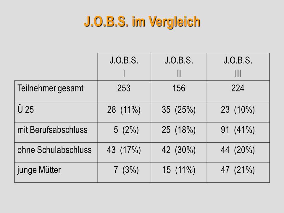 J.O.B.S. im Vergleich J.O.B.S. I J.O.B.S. II J.O.B.S. III Teilnehmer gesamt253156224 Ü 2528 (11%)35 (25%)23 (10%) mit Berufsabschluss 5 (2%)25 (18%)91