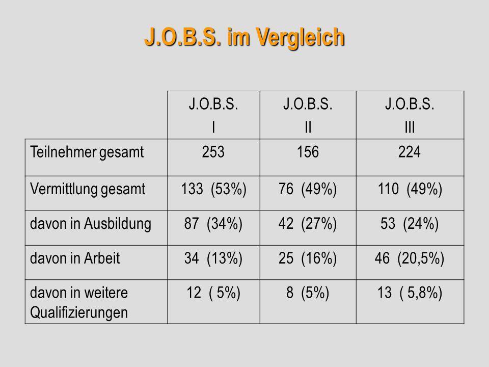 J.O.B.S. im Vergleich J.O.B.S. I J.O.B.S. II J.O.B.S. III Teilnehmer gesamt253156224 Vermittlung gesamt133 (53%)76 (49%)110 (49%) davon in Ausbildung8