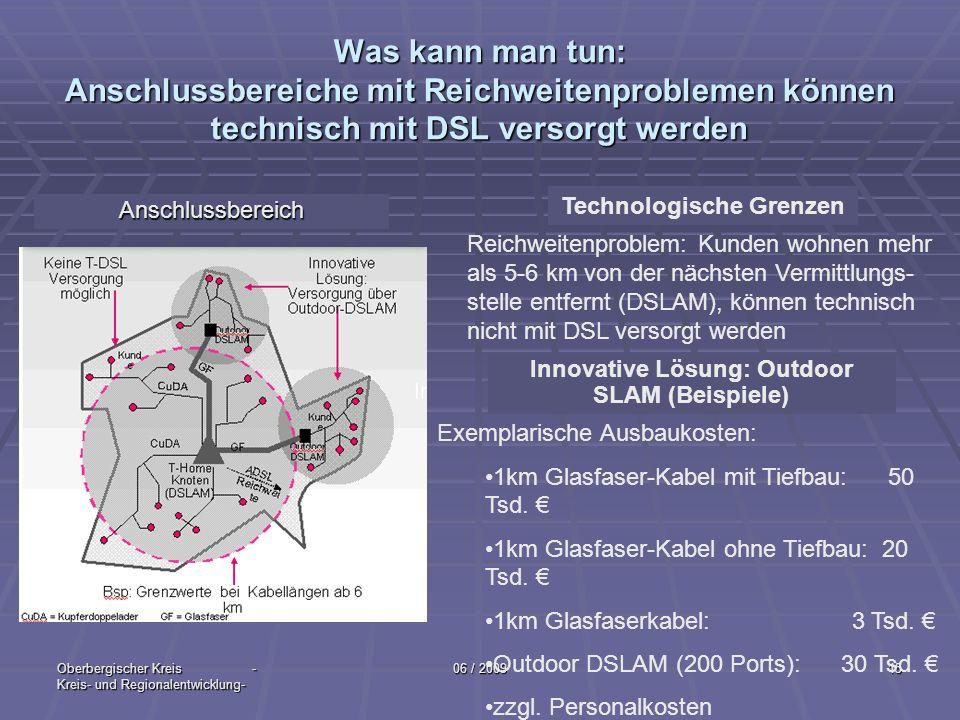 Oberbergischer Kreis - Kreis- und Regionalentwicklung- 06 / 200915 Was kann man tun: Anschlussbereiche mit Reichweitenproblemen können technisch mit D