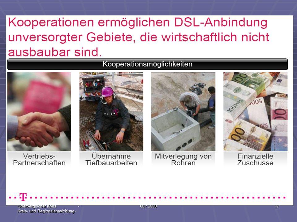 Oberbergischer Kreis - Kreis- und Regionalentwicklung- 06 / 200917 Kooperationen ermöglichen DSL-Anbindung unversorgter Gebiete, die wirtschaftlich ni