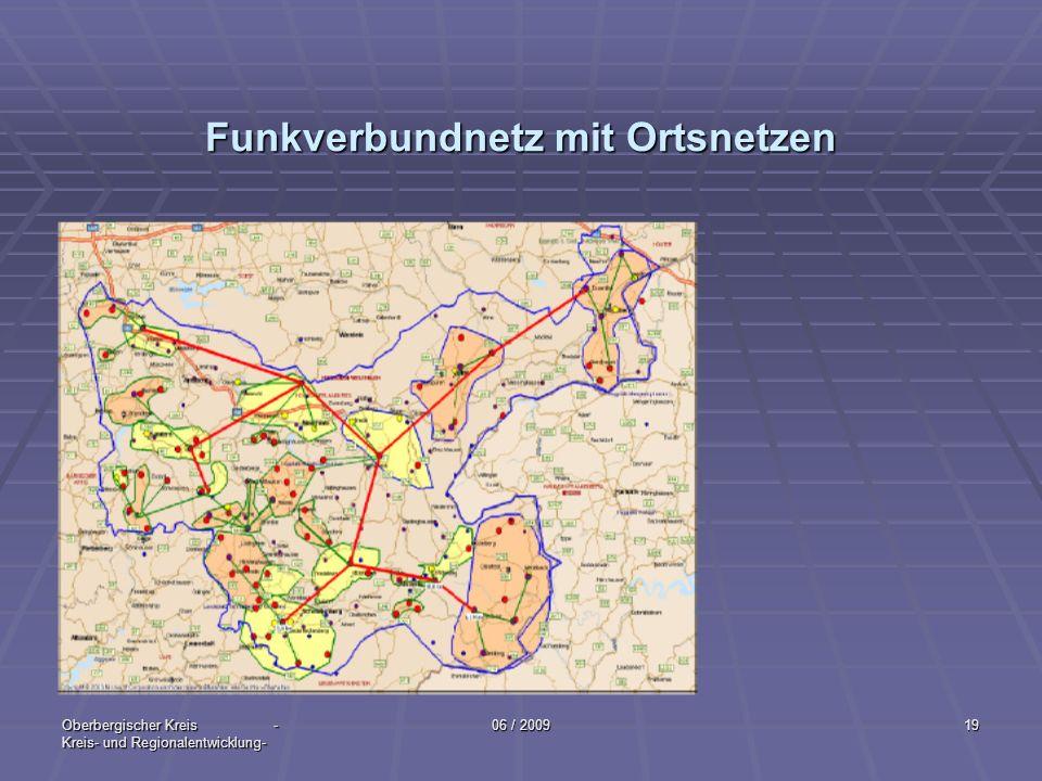 Oberbergischer Kreis - Kreis- und Regionalentwicklung- 06 / 200919 Funkverbundnetz mit Ortsnetzen