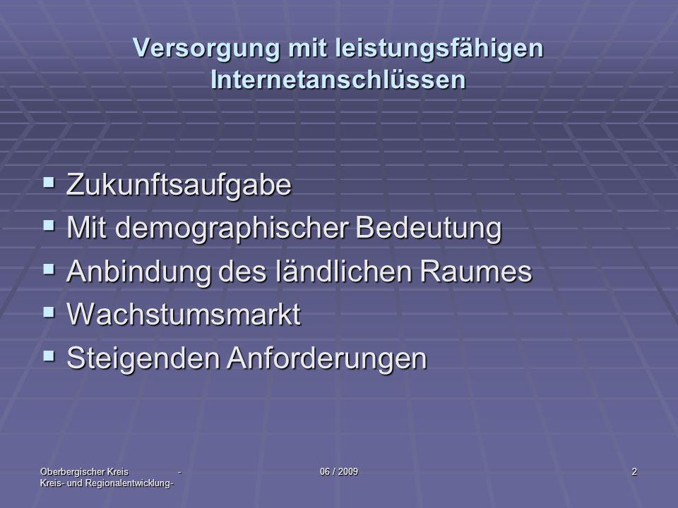 Oberbergischer Kreis - Kreis- und Regionalentwicklung- 06 / 20093 Wettbewerb Funktioniert in Ballungsräumen Funktioniert in Ballungsräumen Anders im ländlichen Raum Anders im ländlichen RaumLeistungsanforderungen Definition: 128 Kbit/s - gebündelte ISDN Leitung 384 Kbit/s 1 Mbit/s- Mindeststandart 2 Mbit/s- Mindeststandart intern.