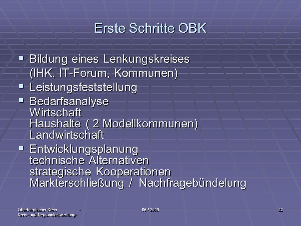 Oberbergischer Kreis - Kreis- und Regionalentwicklung- 06 / 200922 Erste Schritte OBK Bildung eines Lenkungskreises Bildung eines Lenkungskreises (IHK