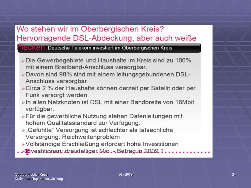 Oberbergischer Kreis - Kreis- und Regionalentwicklung- 06 / 200924