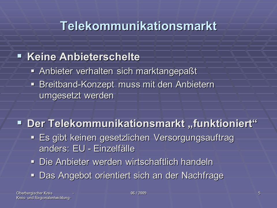 Oberbergischer Kreis - Kreis- und Regionalentwicklung- 06 / 20095 Telekommunikationsmarkt Keine Anbieterschelte Keine Anbieterschelte Anbieter verhalt