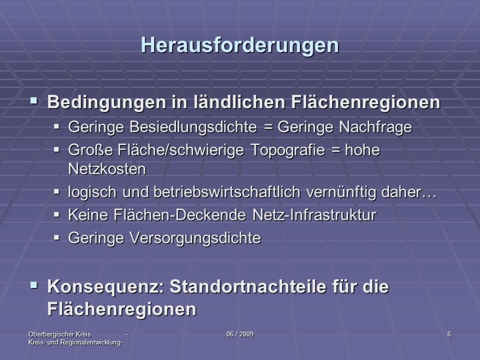 Oberbergischer Kreis - Kreis- und Regionalentwicklung- 06 / 20096 Herausforderungen Bedingungen in ländlichen Flächenregionen Bedingungen in ländliche