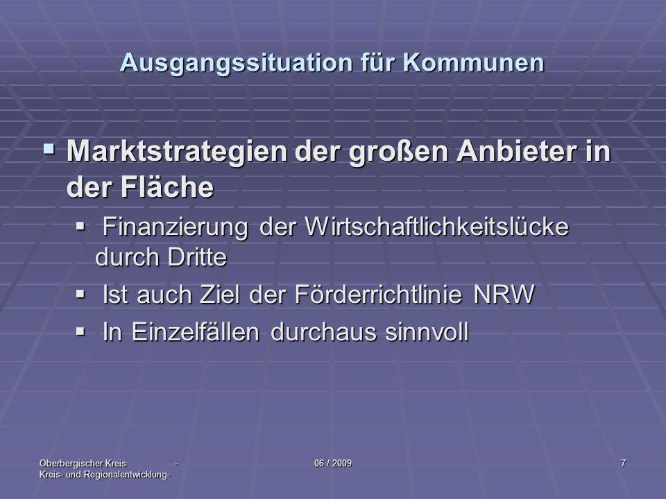 Oberbergischer Kreis - Kreis- und Regionalentwicklung- 06 / 20097 Ausgangssituation für Kommunen Marktstrategien der großen Anbieter in der Fläche Mar