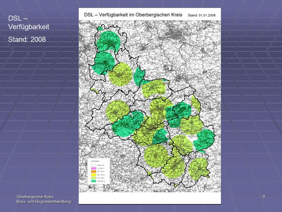 Oberbergischer Kreis - Kreis- und Regionalentwicklung- 06 / 20099 DSL – Verfügbarkeit Stand: 2008