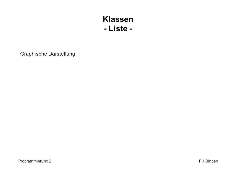 Verkettete Liste I Programmierung 2 FH Bingen class Liste { private: struct listelem { int value; listelem *next; }; listelem *top, *bottom; public: Liste (); bool is_empty(); void append (int); void print(); bool seek(int); void remove(int); };