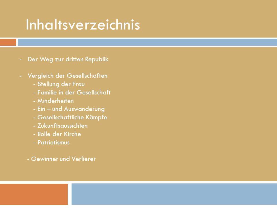 Inhaltsverzeichnis -Der Weg zur dritten Republik -Vergleich der Gesellschaften - Stellung der Frau - Familie in der Gesellschaft - Minderheiten - Ein
