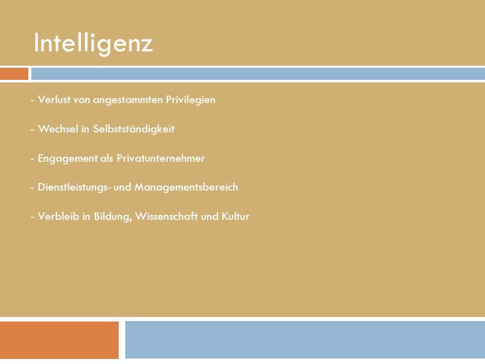 Intelligenz - Verlust von angestammten Privilegien - Wechsel in Selbstständigkeit - Engagement als Privatunternehmer - Dienstleistungs- und Managementsbereich - Verbleib in Bildung, Wissenschaft und Kultur