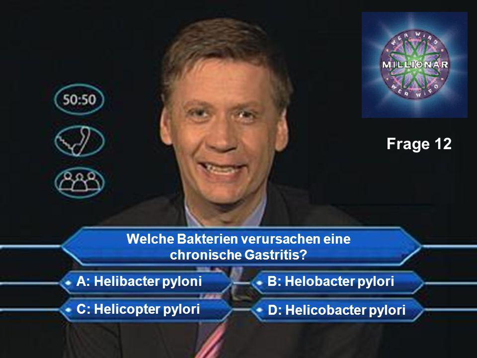 Welche Bakterien verursachen eine chronische Gastritis? A: Helibacter pyloni C: Helicopter pylori D: Helicobacter pylori B: Helobacter pylori Frage 12