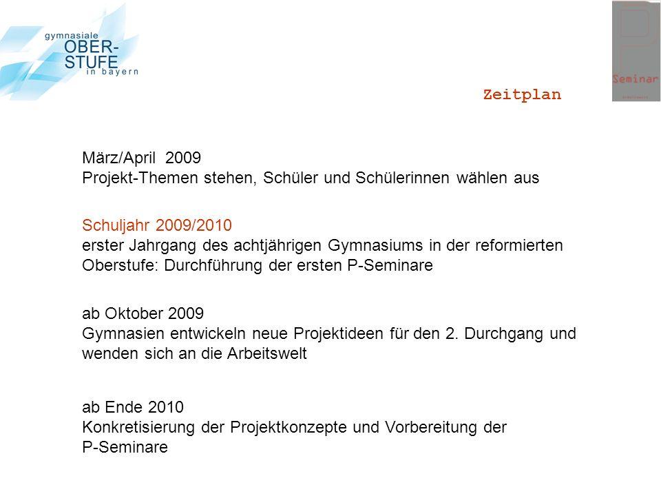 ab Oktober 2009 Gymnasien entwickeln neue Projektideen für den 2. Durchgang und wenden sich an die Arbeitswelt ab Ende 2010 Konkretisierung der Projek
