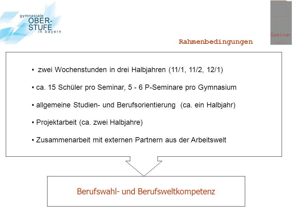 Berufswahl- und Berufsweltkompetenz zwei Wochenstunden in drei Halbjahren (11/1, 11/2, 12/1) ca. 15 Schüler pro Seminar, 5 - 6 P-Seminare pro Gymnasiu