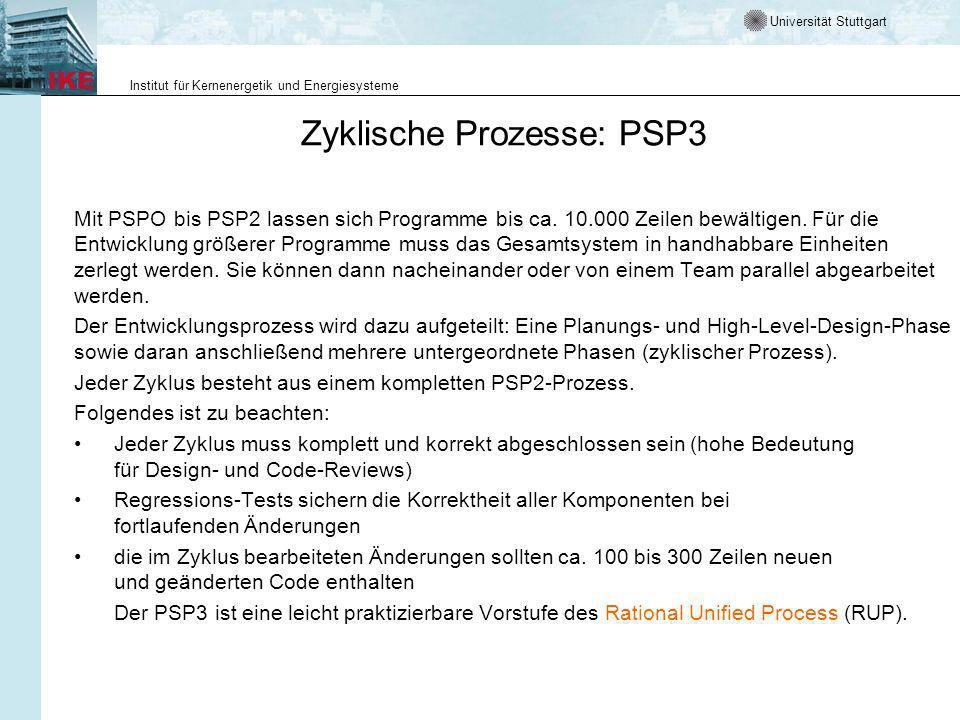 Universität Stuttgart Institut für Kernenergetik und Energiesysteme Zyklische Prozesse: PSP3 Mit PSPO bis PSP2 lassen sich Programme bis ca. 10.000 Ze