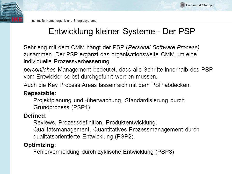 Universität Stuttgart Institut für Kernenergetik und Energiesysteme Entwicklung kleiner Systeme - Der PSP Sehr eng mit dem CMM hängt der PSP (Personal