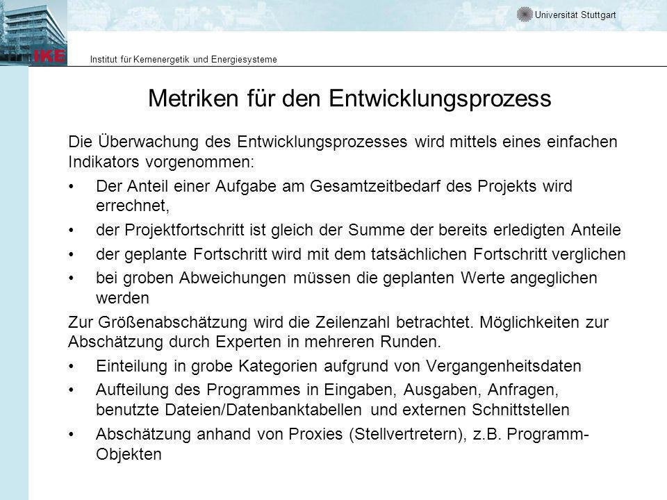 Universität Stuttgart Institut für Kernenergetik und Energiesysteme Metriken für den Entwicklungsprozess Die Überwachung des Entwicklungsprozesses wir