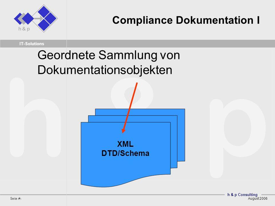 h & p Consulting Seite 11 August 2006 IT-Solutions Compliance Dokumentation I XML DTD/Schema Geordnete Sammlung von Dokumentationsobjekten