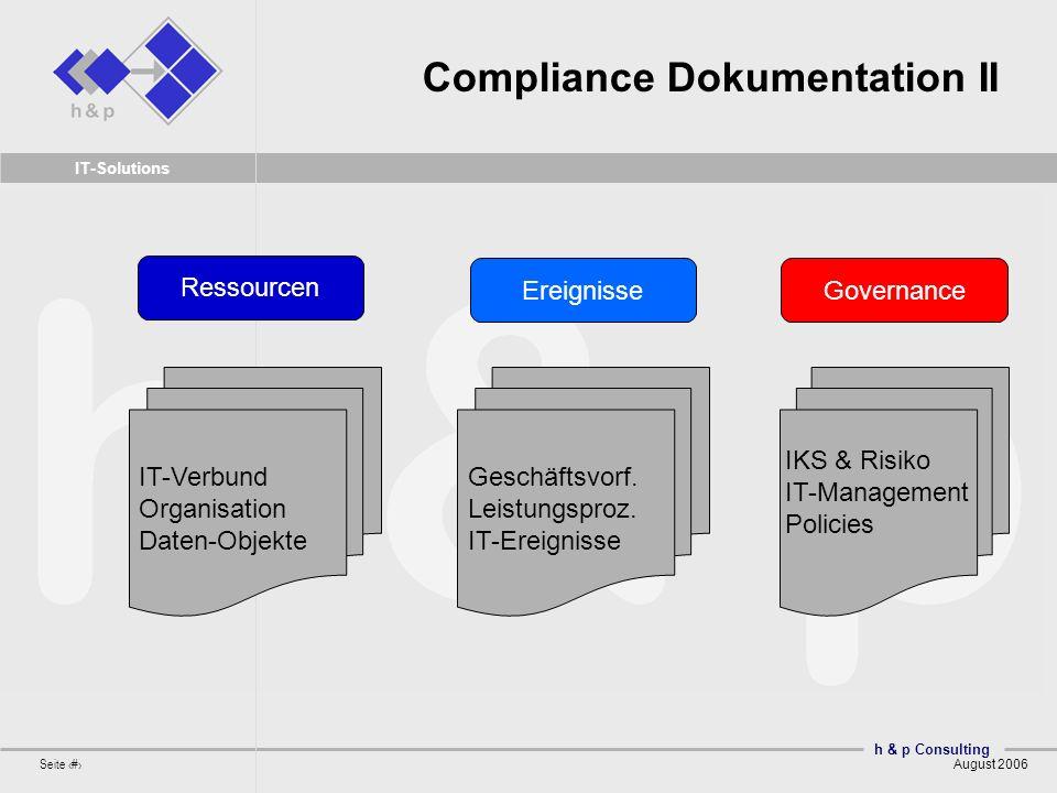 h & p Consulting Seite 12 August 2006 IT-Solutions Compliance Dokumentation II IT-Verbund Organisation Daten-Objekte Ressourcen Geschäftsvorf. Leistun