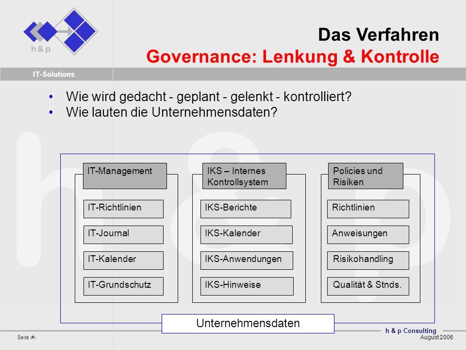 h & p Consulting Seite 15 August 2006 IT-Solutions Wie wird gedacht - geplant - gelenkt - kontrolliert? Wie lauten die Unternehmensdaten? IKS – Intern