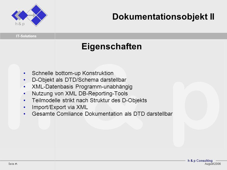 h & p Consulting Seite 17 August 2006 IT-Solutions Dokumentationsobjekt II Schnelle bottom-up Konstruktion D-Objekt als DTD/Schema darstellbar XML-Dat