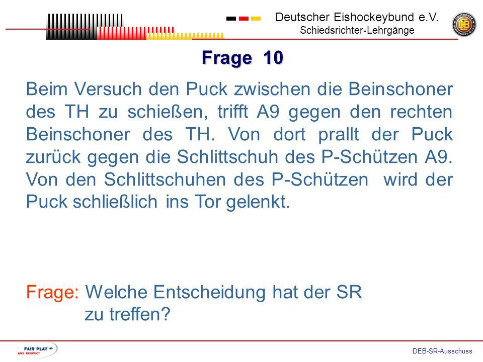 Frage 9 Deutscher Eishockeybund e.V. Schiedsrichter-Lehrgänge DEB-SR-Ausschuss Der P-Schütze A9 läuft in Richtung Tor. Auf Höhe der Blauen Linie stolp