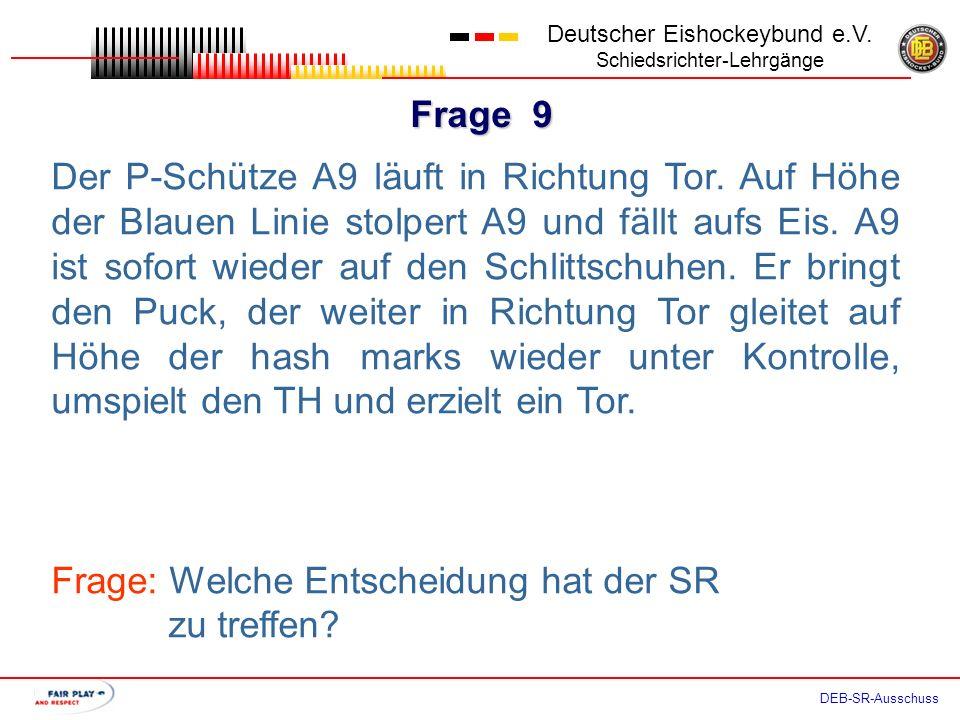 Frage 8 Deutscher Eishockeybund e.V. Schiedsrichter-Lehrgänge DEB-SR-Ausschuss Der SR pfeift den P-Schuss an. P-Schütze A9 läuft in Richtung Tor. Auf