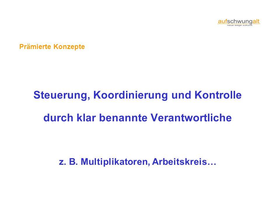 Prämierte Konzepte Steuerung, Koordinierung und Kontrolle durch klar benannte Verantwortliche z. B. Multiplikatoren, Arbeitskreis…